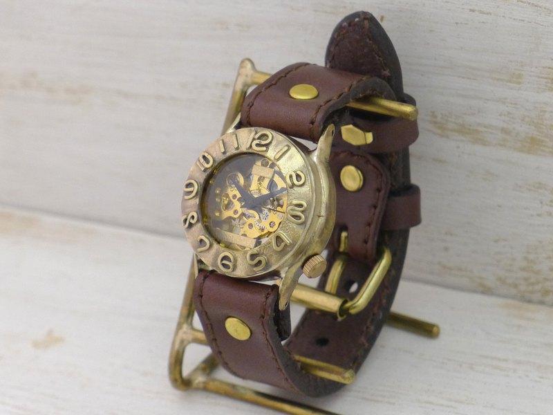 手工手錶HandCraftWatch手動上鍊黃銅男士32毫米縫紉機針皮帶BHW014