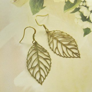Leaf through flower earrings