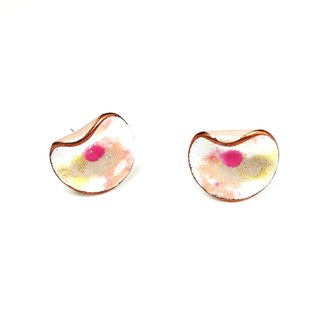 Spring load HinduLotus I enamel earrings (pink) (male / clip-on)
