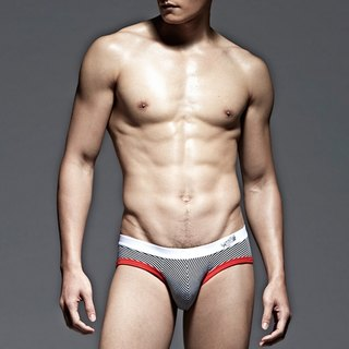 UNDERNEXT2 stripe low-waist briefs thin strips / red