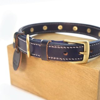 [Handsome hand-made leather collar double-thick collar] L (This can be added without brand available)