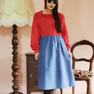 F1127 (Vintage) Red floral tops stitching blue cotton skirt long-sleeved vintage dress (wedding / picnic / party)