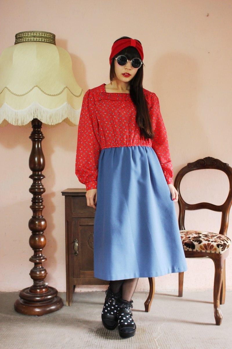 F1127(Vintage)紅色碎花上衣拼接藍色棉質裙長袖古著洋裝(婚禮/野餐/派對)