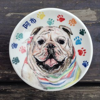 [Customized] pet cats and dogs rabbit painted saucer / rack attached station