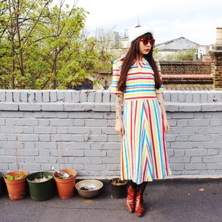 F934 (Vintage) white red and blue striped short-sleeved vintage dress (wedding / picnic / party)