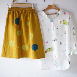 Planet Earth, Round Doll Mustard Hand Print Pocket Skirt