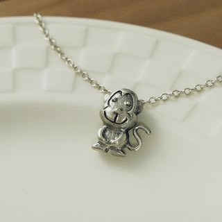 Fancy Moon* Light Fart Monkey necklace 925 sterling silver