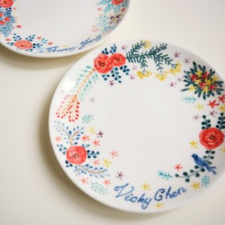 Hand-painted 6-inch Cake Pan Plate -15cm - Garden Wedding Plate Remembrance Day Set - Customized, Named