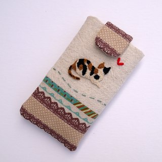 Tricolor cat cell phone pocket embroidery (M)