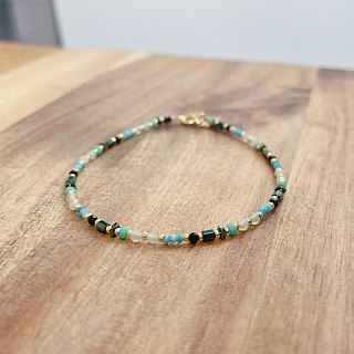 Turquoise agate brass bracelet (smoothly)