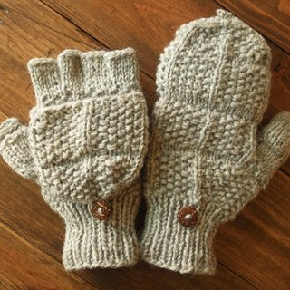 【Grooving the beats】Handmade Wool Mittens, Convertible Mittens, Fingerless Mittens, Wool Gloves, Hand knit Mittens, Hand knit Gloves(Cross_Light Grey)(Bigger Size / Men's size)