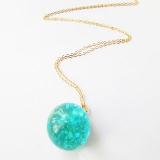 *Rosy Garden* Tiffany blue glitter with water inisde glass ball necklace