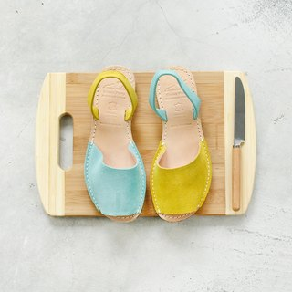 Shoes Party Handmade Mini Toe Sandals - Yellow x Apple Green / Custom Order / S2-15430L