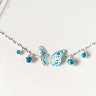 Luminous white pattern ice blue and white hand-painted butterfly