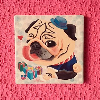 Pug ceramic absorbent coaster-The Best Gift!(Boy)