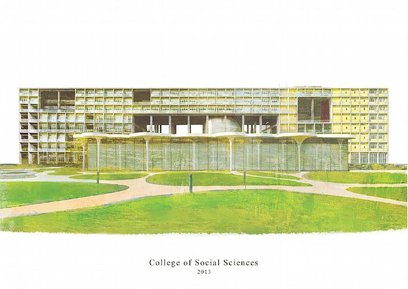 Architectural lighting: National Taiwan University Academy illustration postcard H- new building
