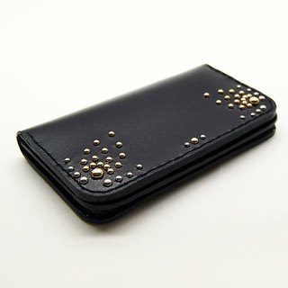 Shiny black leather phone case