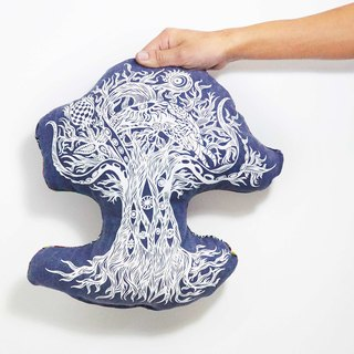 Feel ethnic fabric stitching pillow - Tree of Life (Forest friends)