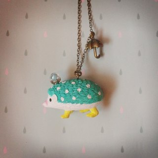 Blue-green Rain Hedgehog Hedgehog - necklace (white bit)