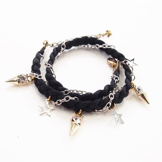 Black braided bracelet with silver star and diamond-spike.