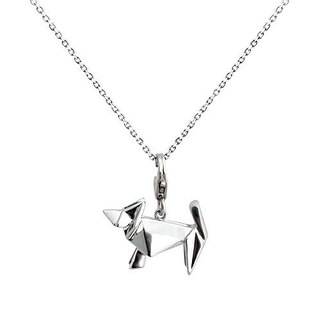 Origami mini poodle silver fairy necklace