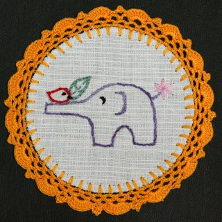 Hand-woven coasters - baby elephant and birds frolicking + yellow Crochet Fabric Coaster