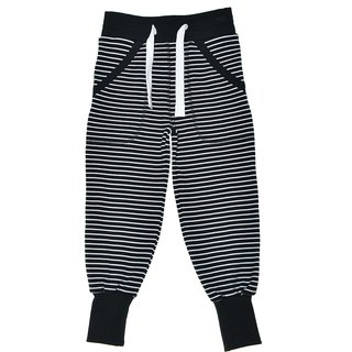 Nordic organic cotton children's wear two-color strap striped pants black / white for 2Y-10Y