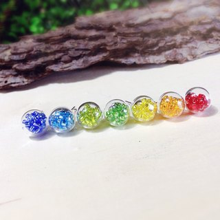 *Haku‧Neko*Rainbow glass ball earrings (one pair can be optional) {pin / Clip-}
