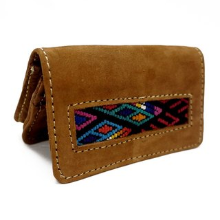 LEATHER & MAYAN EMBROIDERY NAME CARD HOLDER