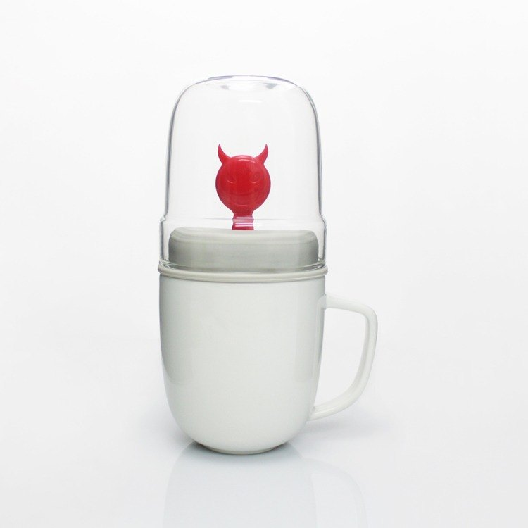 Dipper 1++ Little Devil Double Cup Set - Mug + Glass Cup (Red)