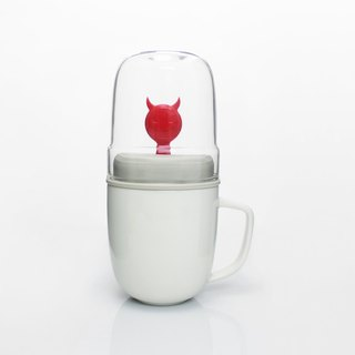 Dipper 1 ++ little devil double cup set - mug cup + glass cup (red section)