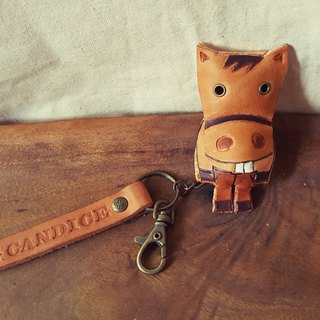 Lovely smiling naked two-horse pure leather key ring - can be lettering (made lover, birthday gift)
