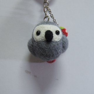 [Sheep wool felt music and more X] gray parrot phone strap headphone plug