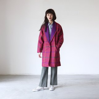 A ROOM MODEL - VINTAGE, CJ-2344 retro pink and purple plaid jacket with Shimokitazawa
