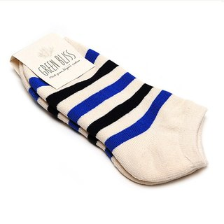 GREEN BLISS Organic Cotton Socks - [Striped Series] Statice White Black Blue Striped Ankle Socks / Socks Socks (Male / Female)