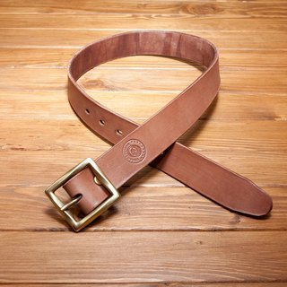 Dreamstation leather Pao Institute, Italian vegetable tanned leather handmade belt 3.5CM (brown) - belt / belt / Brass