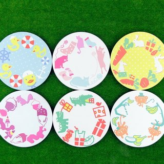 [Ceramic coaster 3 into the group] animal circle circle (gift / wedding small things / exchange gifts / Christmas gifts)