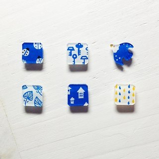 ◤ simple hand-painted blue earrings (one pair into 6 optionally) hypoallergenic needle / ear clip-on can be changed