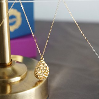 【14 KGF】 Long Necklace, Matt Gold Floral Teardrop Filigree
