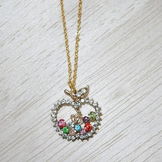 Alloy X Rhinestone Necklace <Sparkling Apple>-Limited x1-#甜美#可爱