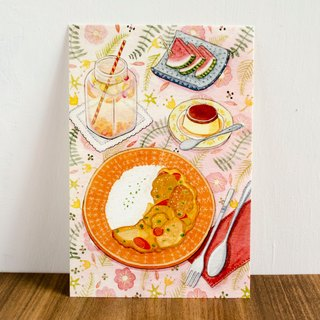 Watercolor illustration postcard-curry