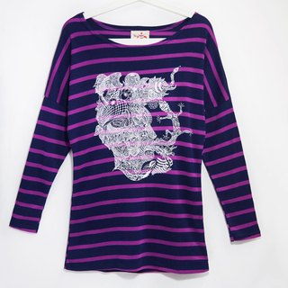 Long-sleeved striped handle travel T - Soul travel map series memory (purple stripes)