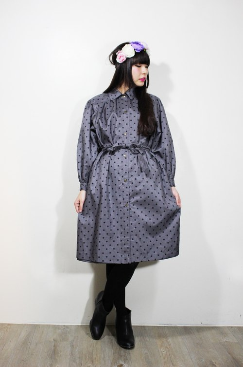 F639 (Vintage) dark gray waist straps attached little black-breasted long-sleeved dress {vintage}