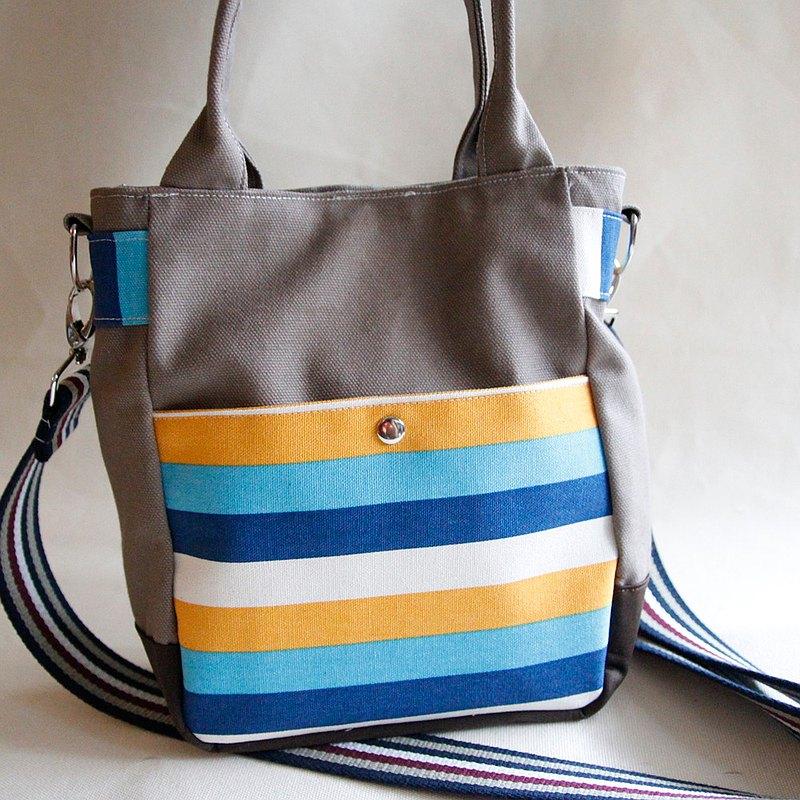 肩背/斜背兩用卡其帆布包, 彩色條紋, 卡其帆布