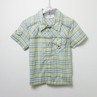 Blue and yellow plaid short-sleeved shirt