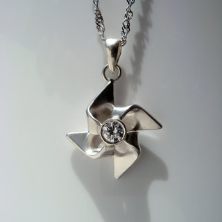 Small windmill. Hearts and Arrows diamond Soviet Union. Silver Necklace