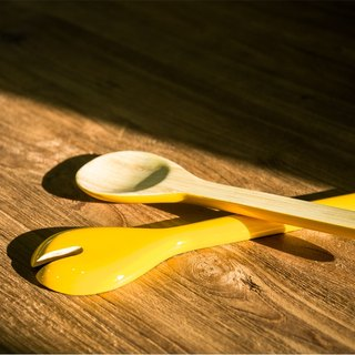 Natural handmade bamboo salad spoon + salad fork (group)
