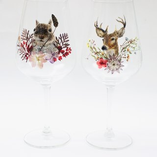 Custom Order - Hand-painted Animal Petal Wine Pair for a Wedding Order