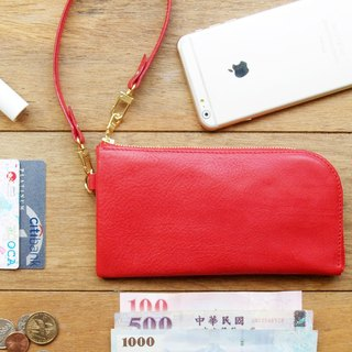 Leather Wristlet Wallet ( Custom Name ) - Coral Red