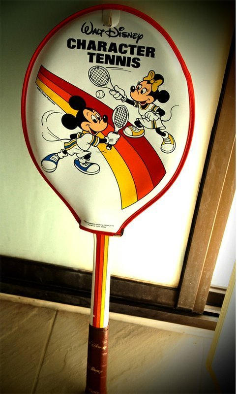 1960s antique tennis rackets Mickey Mouse Disney Land in Anaheim CA USA